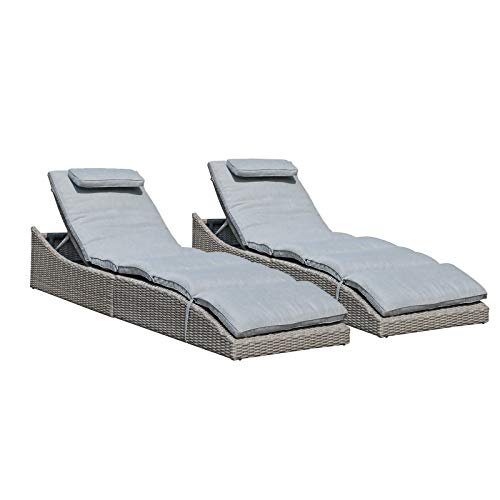 Soleil Jardin Folding Pool Lounge Chair Set of 2 Outdoor Adjustable Chaise Lounge Chair, Fully Assembled, Patio Reclining Sun Lounger, Gray