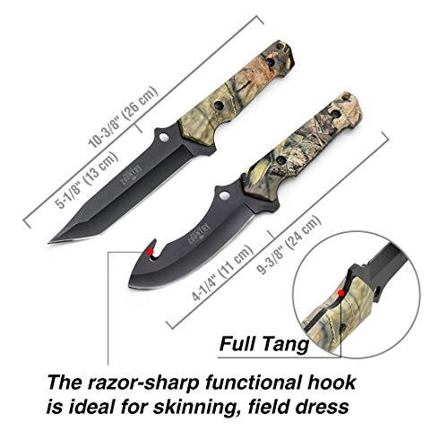 Mossy Oak 2-Piece Hunting Knives Gut Hook Set with Sheath Fixed Blade Stainless Steel Blades