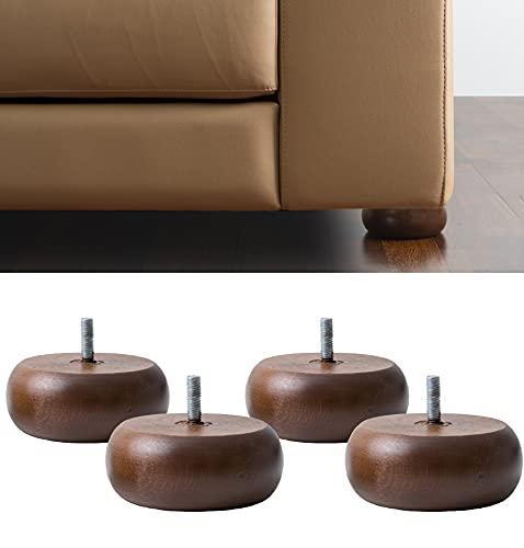 IPEA 4X Piedini Rotondi per Mobili e Divani – Set di 4 Piedi in Legno Massello – Gambe per Poltrone Armadi Arredamento – Color Noce Altezza 45 mm
