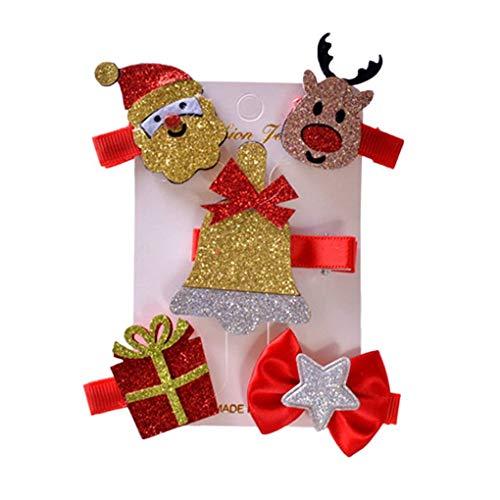Ruiboury Club Band Pelo del Tocado del Clip del árbol 5pcs / Set Niños de Navidad Horquilla del Pelo Garra Niños muñeco de Nieve del Partido de Santa