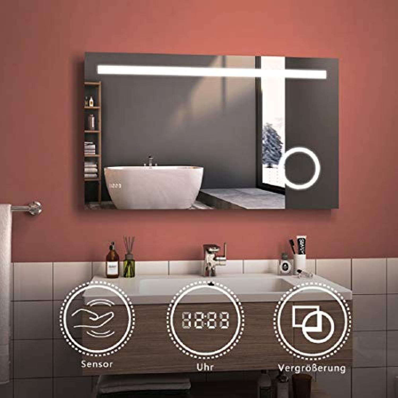 LED Badspiegel mit Beleuchtung 100x60cm Bad spiegel Kaltwei Lichtspiegel Badezimmerspiegel Wandspiegel mit 3-Fach Vergrerung, Sensor-Schalter, Uhr, IP44 Energiesparend
