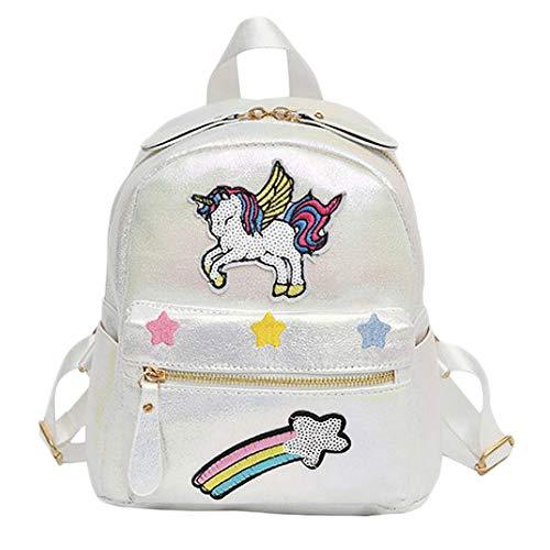 COMTERVI Unicorn Backpack Animal Backpack Girl Unicorn Zaino per Bambini Zaino Casual (Bianca)