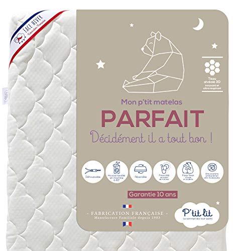 P'tit Lit - Matelas Bébé Parfait - 60x120 cm - 2 Faces : Ultra Respirant l'Été / Chaud et douillet l'Hiver - Anti Acarien - Déhoussable - Oeko Tex® - Fabrication Française