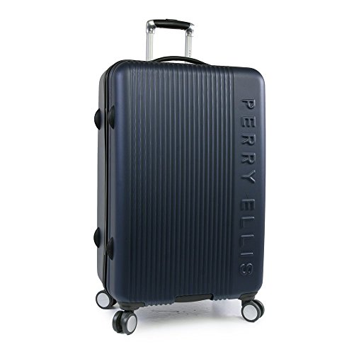 Perry Ellis Forte Hardside Spinner Check in Luggage 29', Navy, One Size