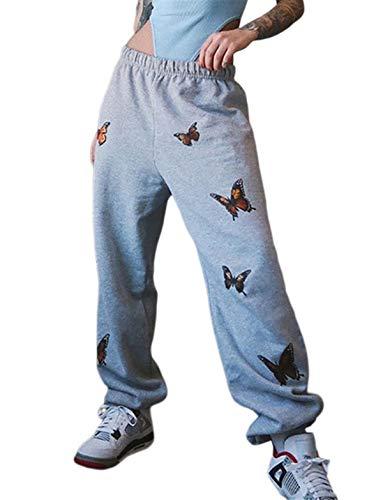 Pantalones casuales deportivos para mujer y niña, pantalones anchos de cintura alta con elástico estampado de mariposas para correr, gimnasio, baile Farfalle - Grigio L