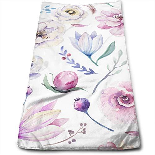 YudoHong Seamless Spring Lila Acuarela Patrón Floral sobre un Fondo Blanco Rosa y Rosa Flores Weddind Decoración Ilustración Toallas de Mano Suave