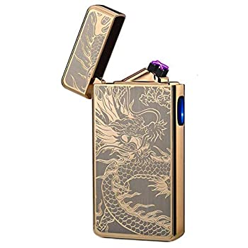 lcfun Dual Arc Plasma Lighter USB Rechargeable Windproof Flameless Butane Free Electric Lighters Candle Lighter  Gold Dragon