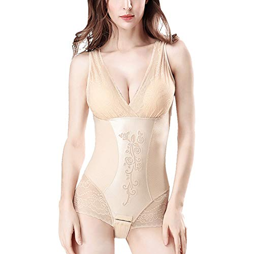 HOUYAZHAN Hüften, Bauch, Brustbereich, Unterwäsche, offener Körper, Body, Body (Farbe : Beige, Size : XXL)
