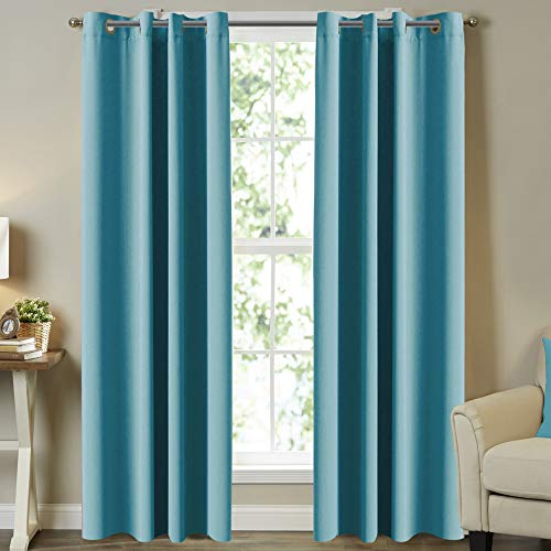 """Solid Grommet Thermal Insulated Blackout Curtains for Living Room/Patio, Noise Reducing Aqua Curtains Thermal Insulated Blackout Panels/Drapes for Nursery, 52"""" x 96"""" ( Set of 2 Panels)"""