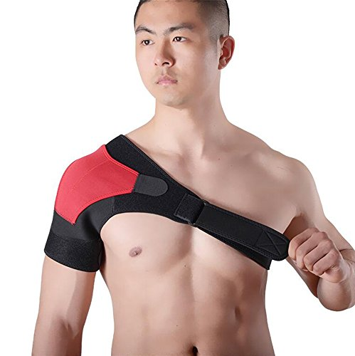 ZSZBACE (レッド, 右肩)肩サポーター 肩関節 脱臼 保護 肩痛補助ベルト付き ショルダー 圧迫 スポーツ 肩の痛み 冷え