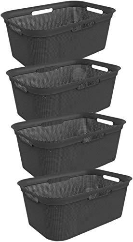 Rotho 4er-Set Wäschekorb 40 l, Kunststoff (PP), Schwarz, 40 Liter (59, 6 x 39, 6 x 23, 2 cm)