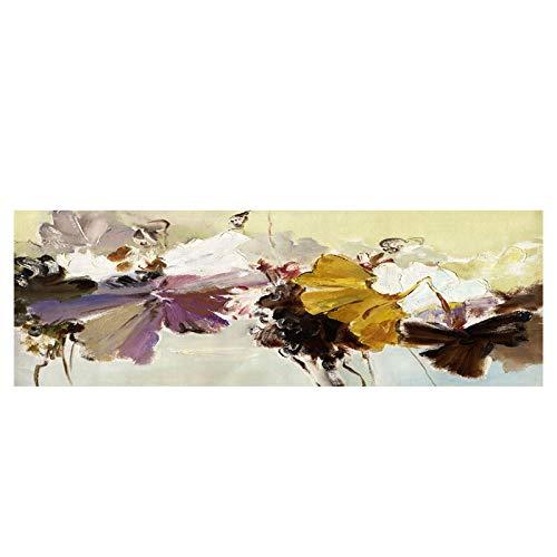 Pintura abstracta de flores de Vintge moderna sobre lienzo, carteles e impresiones, cuadro de arte de pared, sala de estar, decoración del hogar, 40x120cm / 15.7'x47.2' sin marco