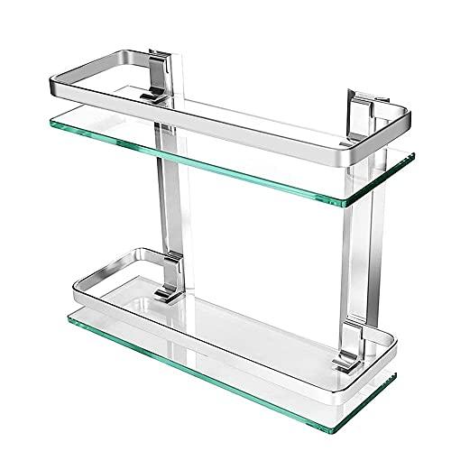 Estanteria Baño - JanTeelGO Aluminio Estanteria Pared 8MM Extra Gruesa Vidrio Templado Estanteria Ducha Rectangular Balda Cristal Baño (2 Pisos)