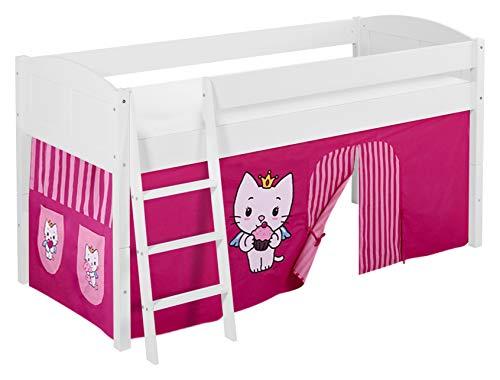 Lilokids IDA 4106 Angel Cat Sugar Lit Mezzanine Divisible avec Rideau pour lit d'enfant en Bois Blanc 208 x 98 x 113 cm