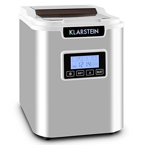 Klarstein Icemeister Machine à glaçons - Prêts en 15 minutes , Jusqu'à 12 kg de glace en 24 heures , Trois tailles de glaçon (small, medium, large) , Réservoir de 1,1L , Acier , Minuteur , Blanc