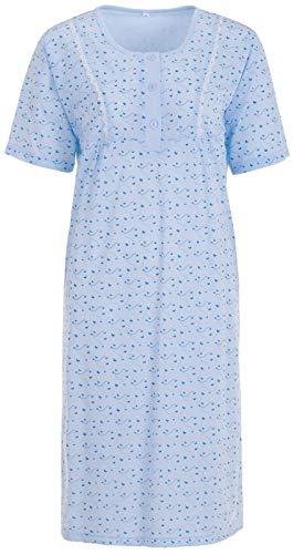 LUCKY Nachthemd Damen Kurzarm Schmetterling Spitze Knöpfe, Größe:XL, Farbe:Hellblau
