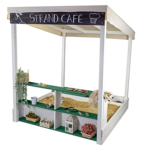 Meppi Sandkasten Travemünde Weiss / grün aus wetterfestem Holz - Sandkiste / Sandbox mit Verkaufstheke / Regal