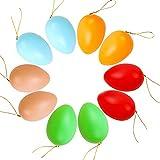 TNMV Uova di Pasqua, 10 Pezzi Uova Pasquali da Appendere, Uova di Plastica Multicolore per la Decorazione e Regali del Partito di Pasqua7cm (5 Colori)