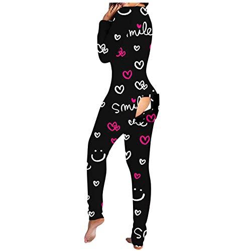 FantaisieZ Jumpsuit Damen Einteiler Pyjama Langarm Schlafanzug Mädchen Sexy V-Ausschnitt Functional Buttoned Flap Overall Strampler Nachtwäsche Schlank Trainingsanzug Hausanzug (Pink, S)