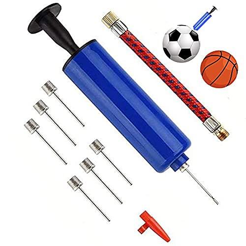 Mantimes Kit de inflador de bomba de aire portátil con 7 agujas y 1 boquilla cónica, 1 manguera de aire para baloncesto, voleibol, agua, polo y otras pelotas deportivas inflables