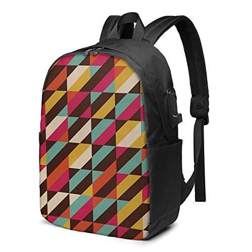 WEQDUJG Mochila Portatil 17 Pulgadas Mochila Hombre Mujer con Puerto USB, Cajas geométricas Color Paralelo Mochila para El Laptop para Ordenador del Trabajo Viaje