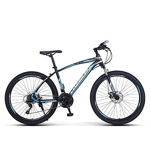 Bicicleta De Coche para Adultos, Bicicleta De Montaña Carbono Iónico, Freno De Doble Disco De Absorción De Golpes, Coche De Alumnos De Velocidad-Rueda De Hablar Azul Negro_26 Pulgadas 27 Velocidad,