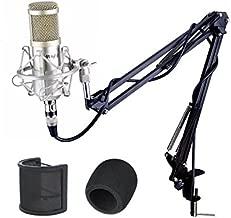 Mugig Condenser Microphone, Professional Studio Condenser Mic with Microphone Stand/3.5mm XLR Cable/Shock Mount/Pop Filter for Professional Studio Recording, Broadcasting, Recording, Singing, Games