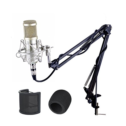 Mugig Condenser Microphone, Professional Studio Condenser Mic with Microphone Stand/3.5mm XLR Cable/Shock Mount/Pop Filter for Professional Studio Recording, Broadcasting, Recording, Singing, Games