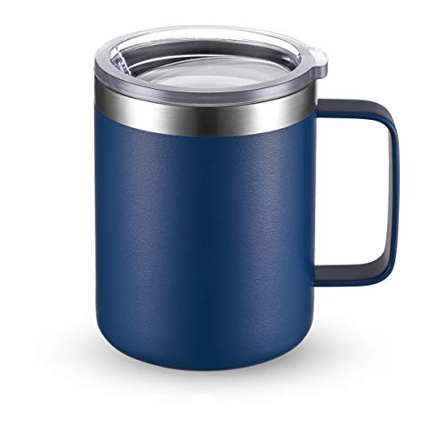 CIVAGO Stainless Steel Coffee Mug Cup with Handle 12 oz Double Wall Vacuum Insulated Tumbler with Lid Travel Friendly Navy Blue 1 Pack