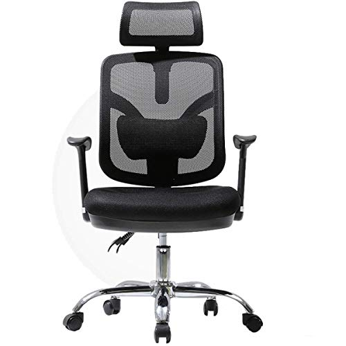 Ergonomic Office Chair High Back Mesh Desk Chair with Arm Rests Computer Chair Height Adjustable and Head Support,Black