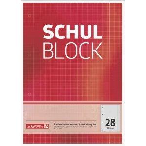 Brunnen 10 x Schulblock A4 kariert Lineatur 28 mit Rand 4-fach gelocht 50 Blatt