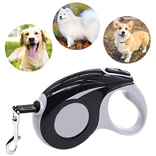 Roll-Leine reflektierend, Hunde Hundeleine Gross Hunde 5m Einziehbar Hundeleine mit leuchtenden reflektierenden Maschen, Ergonomischem rutschfest-Griff