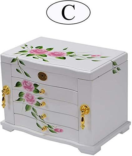 WQF Joyero con Estampado Floral, Caja de Almacenamiento de Madera Maciza, Caja de Almacenamiento Pintada a Mano, joyero de Cinco Capas y Doble Puerta (tamaño: E)