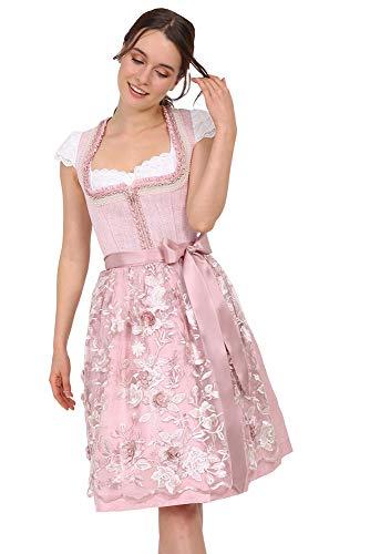Krüger MADL Donna Dirndl Rosita con fiori grembiule pizzo 49256 – Rosé 60 cm – Rosa Mididirndl abito tradizionale matrimonio taglia 32-46 rosé 40