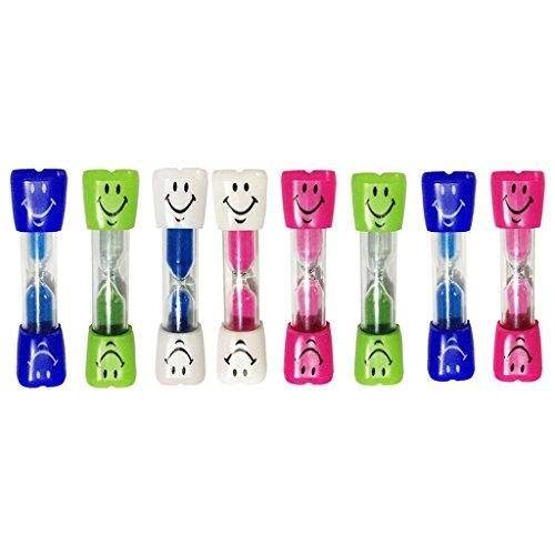 MagiDeal 8PCS Sabliers Minuterie Horloge de Sable Hourglass Motif Visage souriant 3 Minutes en Plastique Verre Sable Désigné Pour Jeux Cuisine Exercice