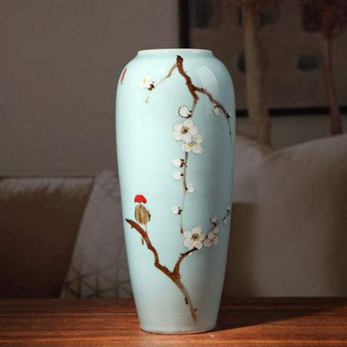 XHZJ Céramique Haute température Pots de Fleurs de Bureau de Style Haut, Bas et Moyen, Nouveaux vases de comptoir Bleus Modernes Peints à la Main de Verre et Chinois, Salon en céramique