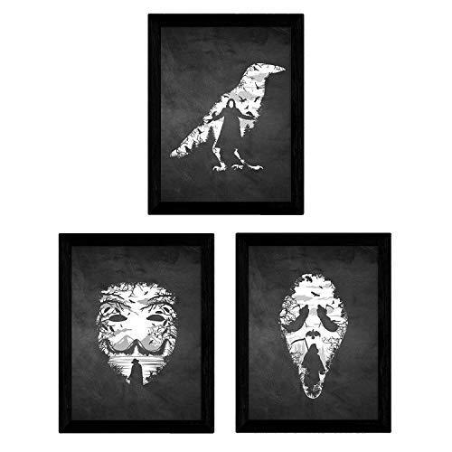 Nacnic Set de Tres láminas Blanco y Negro peliculas V de Vendeta, Scream y El...