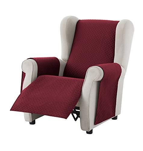 Textil-home Sesselschoner Sofaüberwurf Adele, 1 Sitzer/Relax - Reversibel gepolsterter Sofaschutz. Farbe Rot