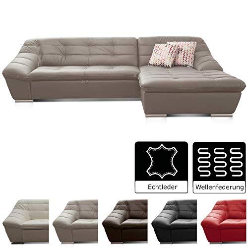 Cavadore Leder-Sofa Lucas / Ecksofa in Echtleder mit Steppung / Longchair rechts / Größe: 287 x 81 x 165 (BxHxT) / Leder grau