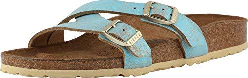 BIRKENSTOCK Women's Yao Metallic Aqua Leather Sandal