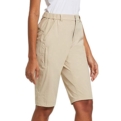 BALEAF Women's Stretch Quick Dry Shorts Water Resistant for Hiking, Camping, Travel KhakiSize L
