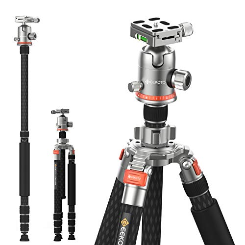 """GEEKOTO Carbon Fibre Tripod/Monopod with 32mm Tube,Adjustable from 27"""" to 85"""",Dual Axis,Twist Locks,Include 3 Foot Nails,Load 33 Pounds,with 360 Degree Ball Head 1/4"""" Aluminum Quick Release Plate"""