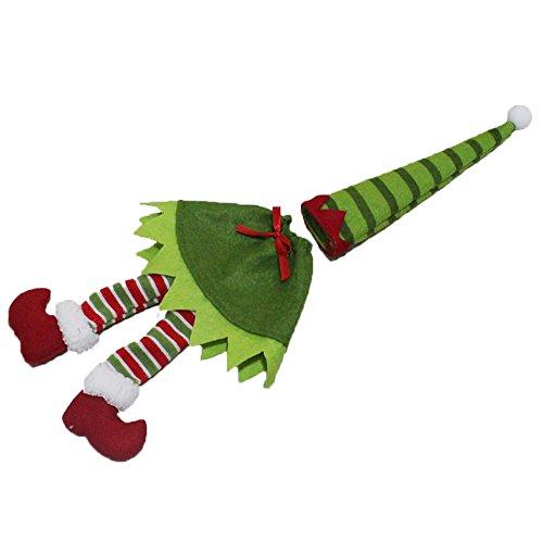 Demarkt 1 Set Sac Bonnet Vin Couvercle Non-tissés Elfe Rayures/Points Bouteille de Vin Rouge Décoration Cadeau Poche Noël Décorations Sac Bouteille de vin Emballage Vert-23cm