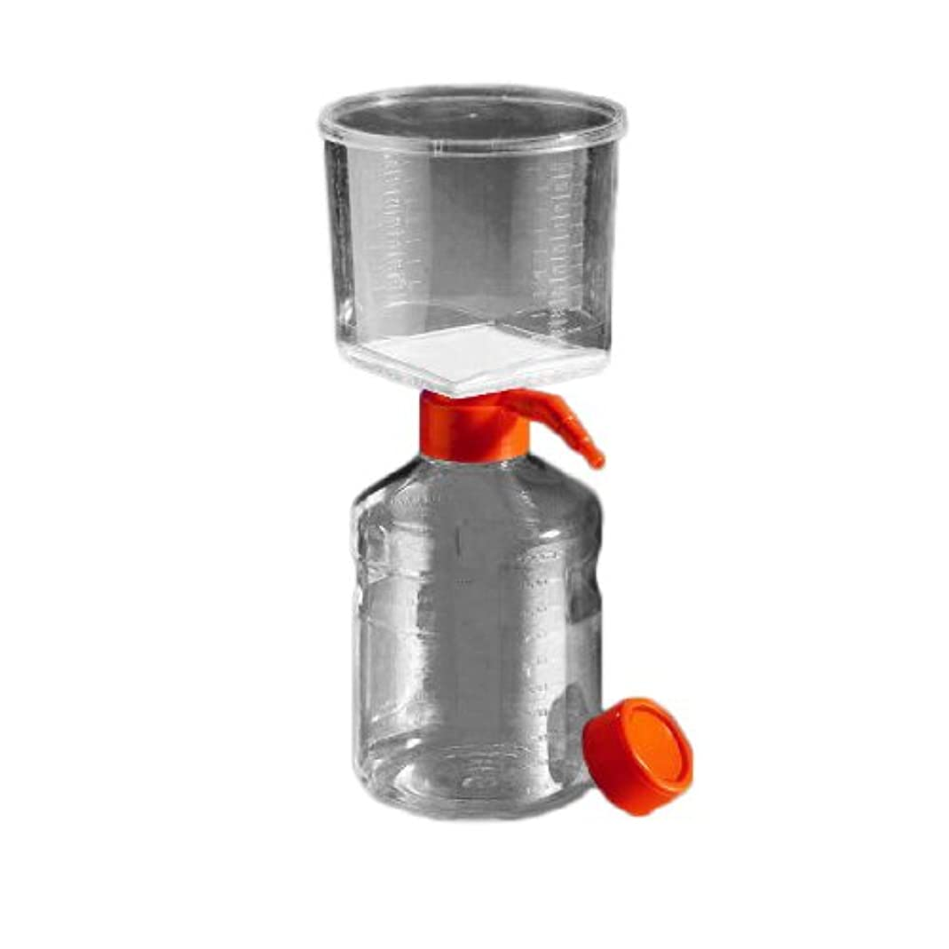 Corning 430769 Polystyrene Vacuum Filter/Storage Bottle System, Graduated, Sterile, Cellulose Acetate Membrane, 0.22 Micron, 500mL Capacity (Case of 12)