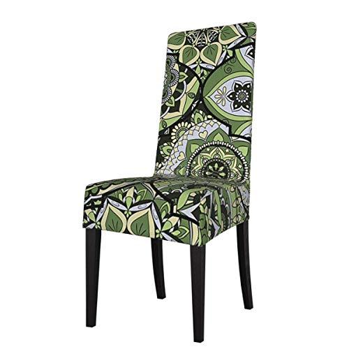 Funda para Silla Azulejos de Colores Verdes Boho Leaf Mandala Fundas para sillas Estampadas elásticas Fundas para sillas Lavables Protector Funda de Asiento para sillas