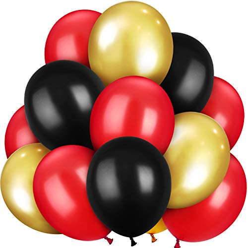 100 Pieces 13 inch Latex Balloons Colorful Round Balloons for Wedding Birthday Festival Party Decoration (Gold, Black, Red)