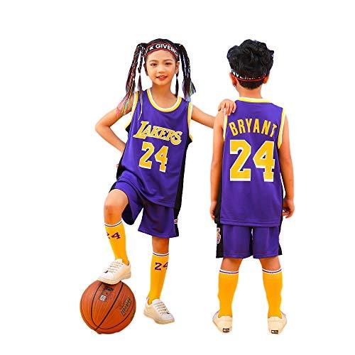 Sheki Uniforme de Baloncesto Camiseta Kobe # 24, Camiseta de Ventilador de Verano Chaleco sin Mangas Traje de Ropa Deportiva, Ropa Deportiva para ni?os, Ropa de Entrenamiento (Púrpura, L)