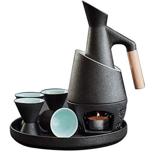 YLKCU Juegos de Sake Juego de 8 Piezas de Sake, Juego de Regalo de cerámica de Estilo japonés para Servir Sake, Mango de Madera Anti escaldado, Ideal para Sake frío/Caliente/Caliente/Shochu