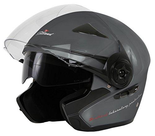 Scotland Force 03.2 Helm für Motorrad/Motorroller mit doppeltem Visier 53-54 (XS) titan