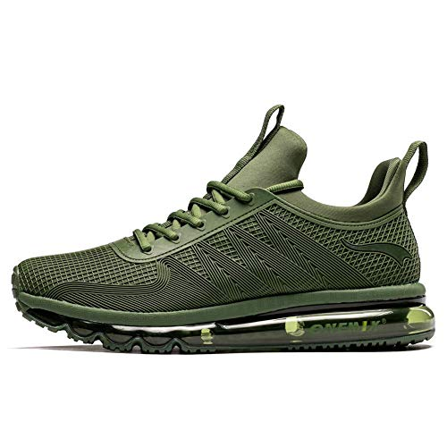 ONEMIX Hombre Air Running Zapatillas Outdoor Trail Trainers - Zapatillas de Deporte de Gimnasia con Diseño de Una Pieza Y1191-Green-47
